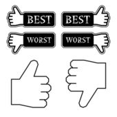 Thumb best worst labels — Stock Vector