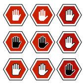 Hand octagon stop symbols — Stock Vector
