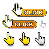 Click hand cursor labels — Stock Vector