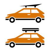 荷物ルーフラック アイコンが付いている車 — ストックベクタ