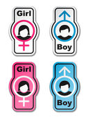 Boy girl toilet stickers — Stock Vector