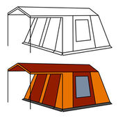 Big old family camping tent — Stock Vector