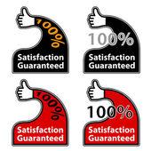 Pulgar arriba satisfacción garantizada etiquetas — Vector de stock