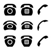 Black old phone and receiver icons — Stock Vector