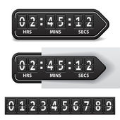Countdown black mechanical timer — Vettoriale Stock