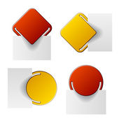 Red and yellow attached labels — Stock Vector
