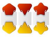 Bijgevoegde labels - driehoek pentagon ster — Stockvector