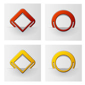 Red and yellow attached frames — Stock Vector