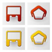 Gekoppelde frames - pentagon en rechthoek — Stockvector