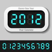 Azules brillantes números digitales - año nuevo 2012 — Vector de stock