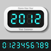 Blue glowing digital numbers - new year 2012 — Vector de stock