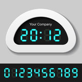 Blue glowing digital numbers - clock or counter — Stock Vector
