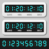 Blauwe gloeiende digitale nummers - countdown-timer — Stockvector