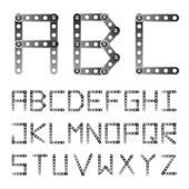 Metal screwed alphabet font — Stock Vector