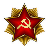 Golden soviet badge - red star sickle and hammer — Stock Vector