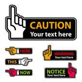 Waarschuwing wijsvinger en wijzende hand etiketten — Stockvector