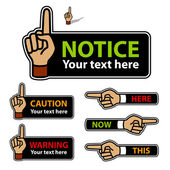 Warning forefinger and pointing hand labels — Stock Vector