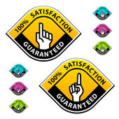 Forefinger indicating the satisfaction guaranteed labels — Stock Vector