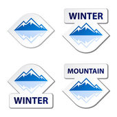 Winter blue mountain stickers — Stock Vector