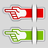 Attached pointing hand labels — Stock Vector