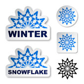 Winter blue snowflake stickers — Stock Vector
