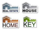 House key real estate stickers — Stock Vector