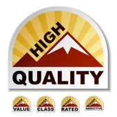 High quality value class rated addictive mountain stickers — Stock Vector