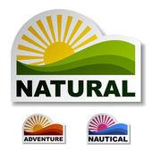 Autocollants nautiques aventure naturelle — Vecteur