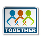 Together joined sticker — Stock Vector