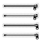 Símbolos de cremallera negro — Vector de stock