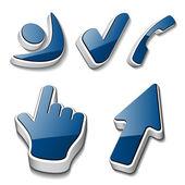 Cursor de telefone checkmark humano símbolos 3d — Vetorial Stock