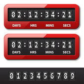 Red mechanical counter - countdown timer — Vettoriale Stock