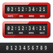 Rote mechanischer zähler - countdown-timer — Stockvektor