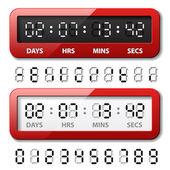 红色机械计数器-倒计时计时器 — 图库矢量图片