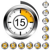 Chrome ronde timers — Stockvector