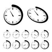 Ronde zwarte timer pictogrammen — Stockvector
