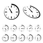 круглые черные таймера иконки — Cтоковый вектор