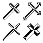 Black christian crosses — Stock Vector