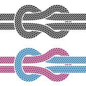 Tırmanma halat düğümü sembolleri — Stok Vektör