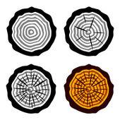 Símbolos de tronco de árvore de anéis de crescimento — Vetorial Stock