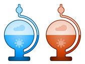 Glass liquid barometer — Stock Vector