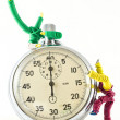 Toys, playing with a clock — Foto de Stock