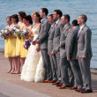Stock Photo: Wedding Party Takes Picture At Edge Of Lake Michigan
