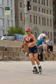 Athletic Woman Rollerblades In Chicago — Stock Photo