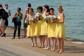 Bridesmaids Prepare For Photo Standing By Lake Michigan — Stock Photo
