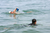 Two Male Swimmers Swim Lake Michigan — Stock Photo