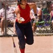 Female Softball Player Drops Bat And Runs To First Base — Stock Photo