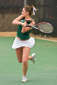 Female Tennis Player Completes Forehand Follow Through — Stock Photo