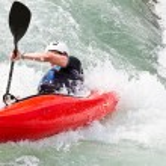 Kayak in white water — Stock Photo