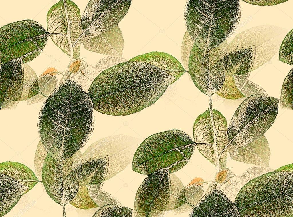 拼贴画的绿色叶子的分支
